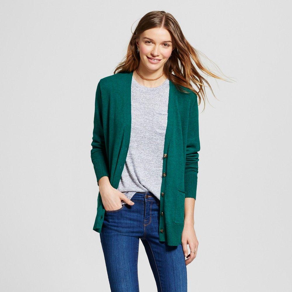 Women's Long Sleeve Boyfriend Cardigan - Mossimo Supply Co. Green ...