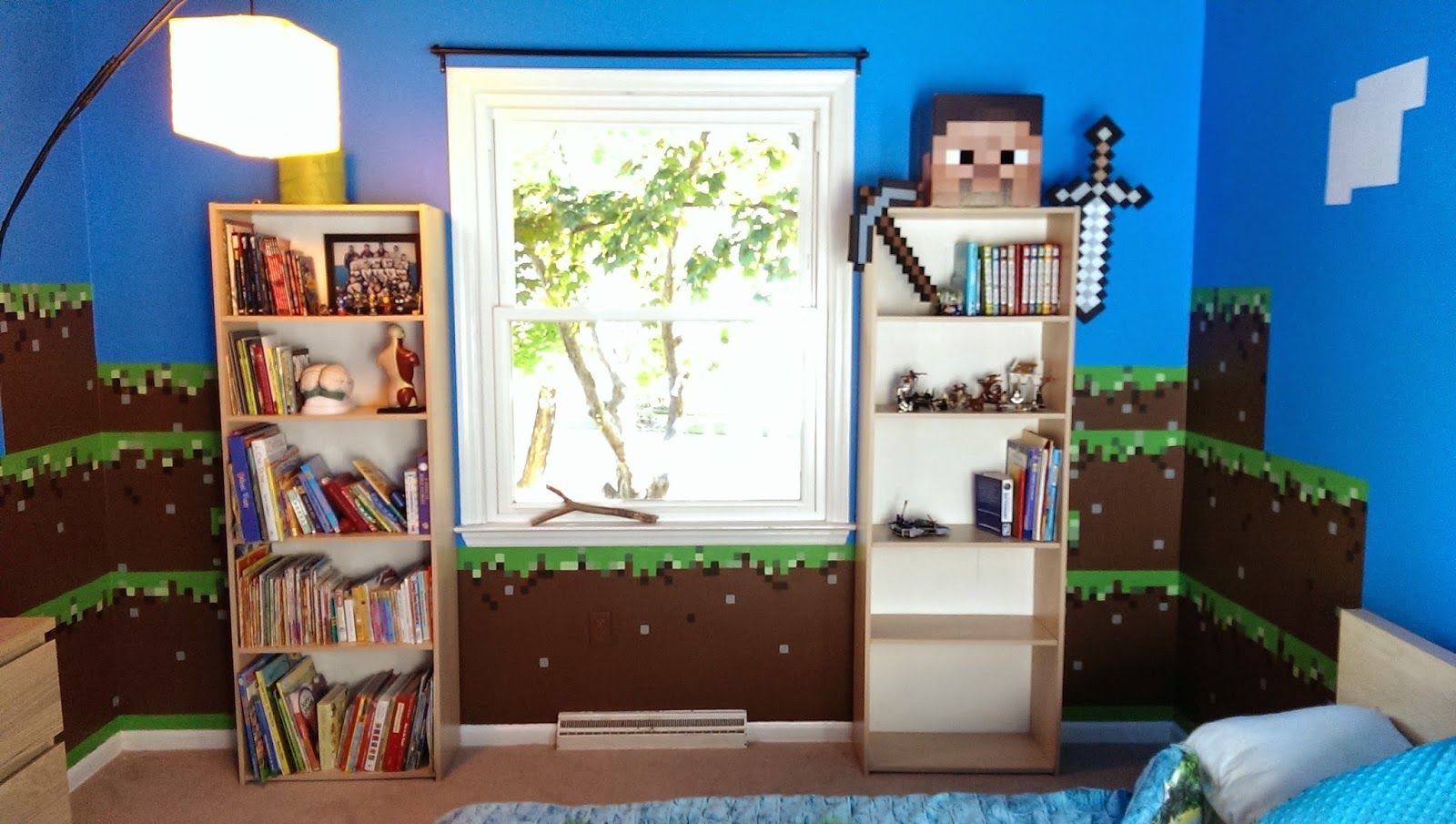 Minecraft wall mural so neat kid cool bedroom ideas for Nice bedroom designs minecraft