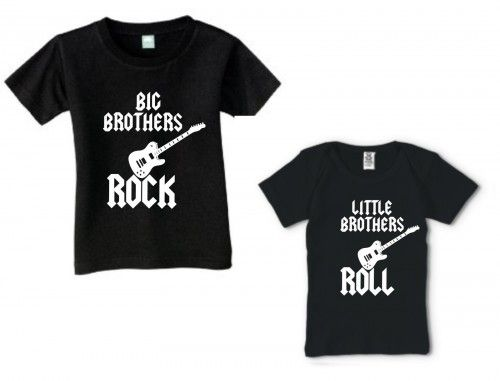 BIG BROTHERS ROCK LITTLE BROTHERS ROLL COOL SHIRT SET OF 2 SIBLINGS    KoolKidzClothing - Clothing - BIG BROTHERS ROCK LITTLE BROTHERS ROLL COOL SHIRT SET OF 2