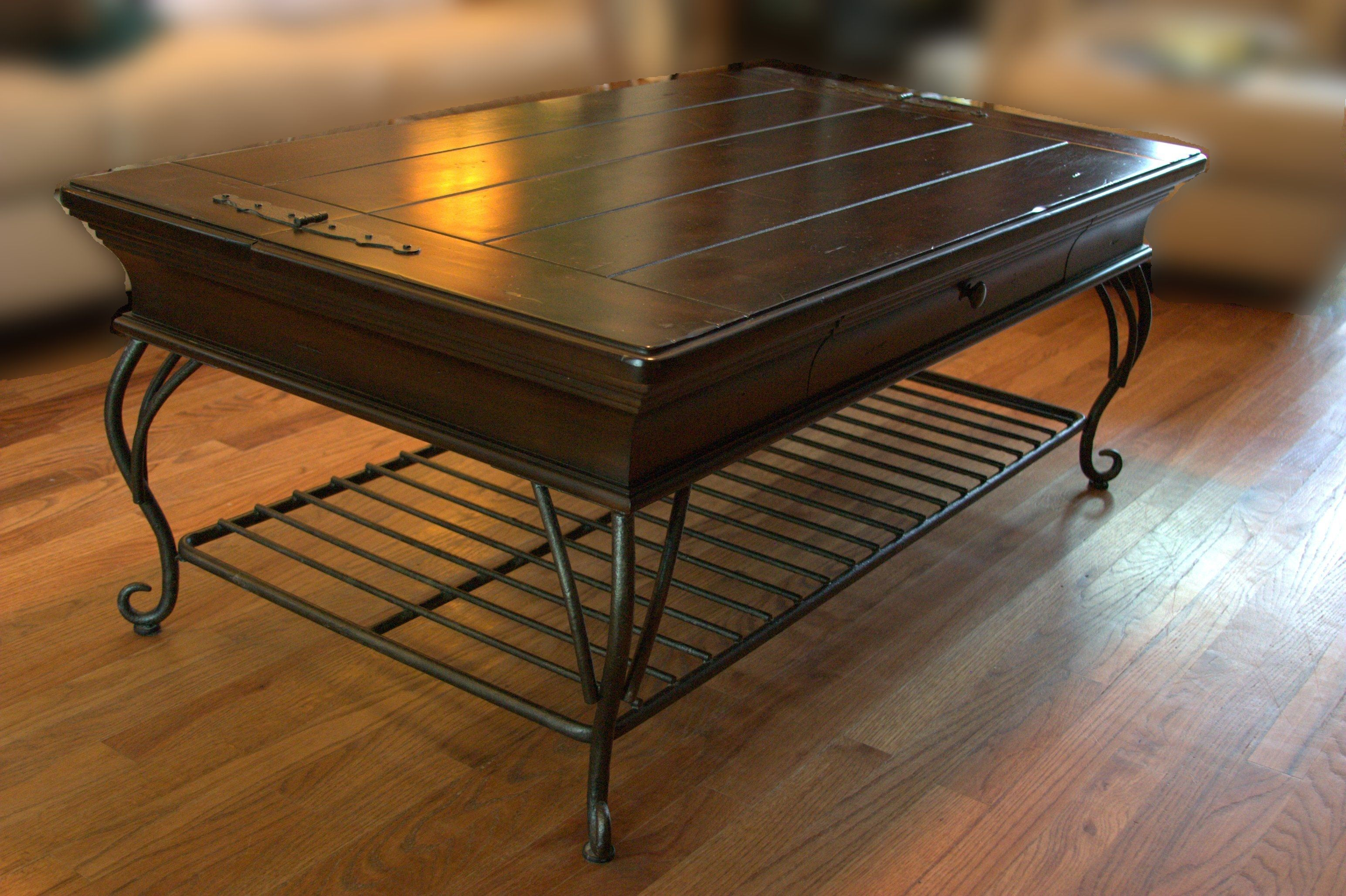 Wrought Iron Wood And Glass Coffee Table