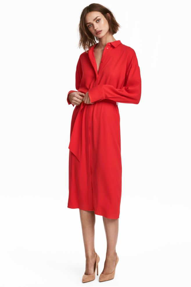 41f8ee13b Vestido camisero - Rojo - MUJER