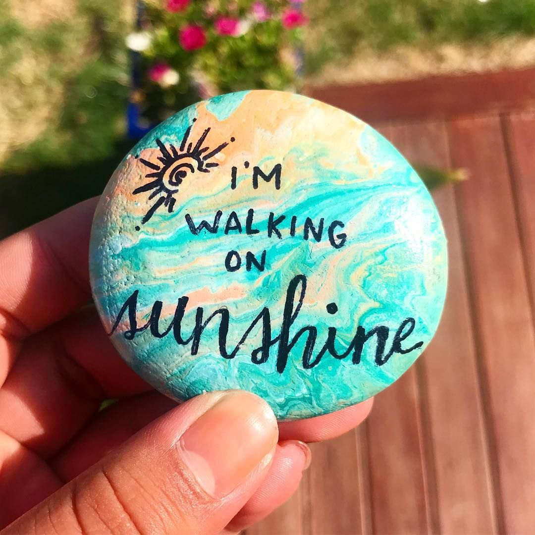 "Photo of ILA's Rock Paintings on Instagram: ""I'm walking on sunshine ☀️ my first rock pour. . . . . #rockpainting #rockart #pebbleart #nzrocks #chchrocks #paintedrocks…"""
