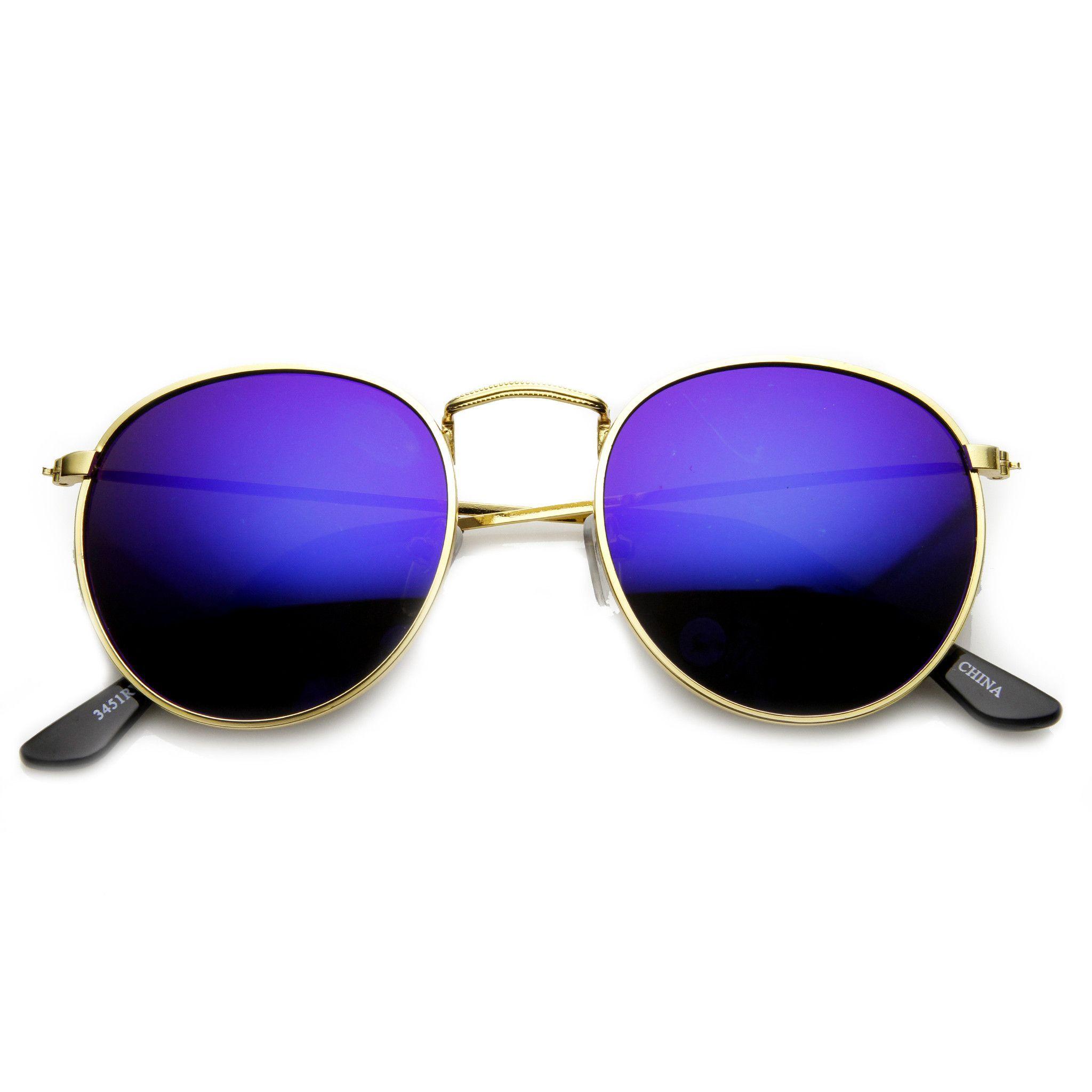 Retro P3 Round Flash Color Mirror Lens Metal Sunglasses 9208 | Flash ...