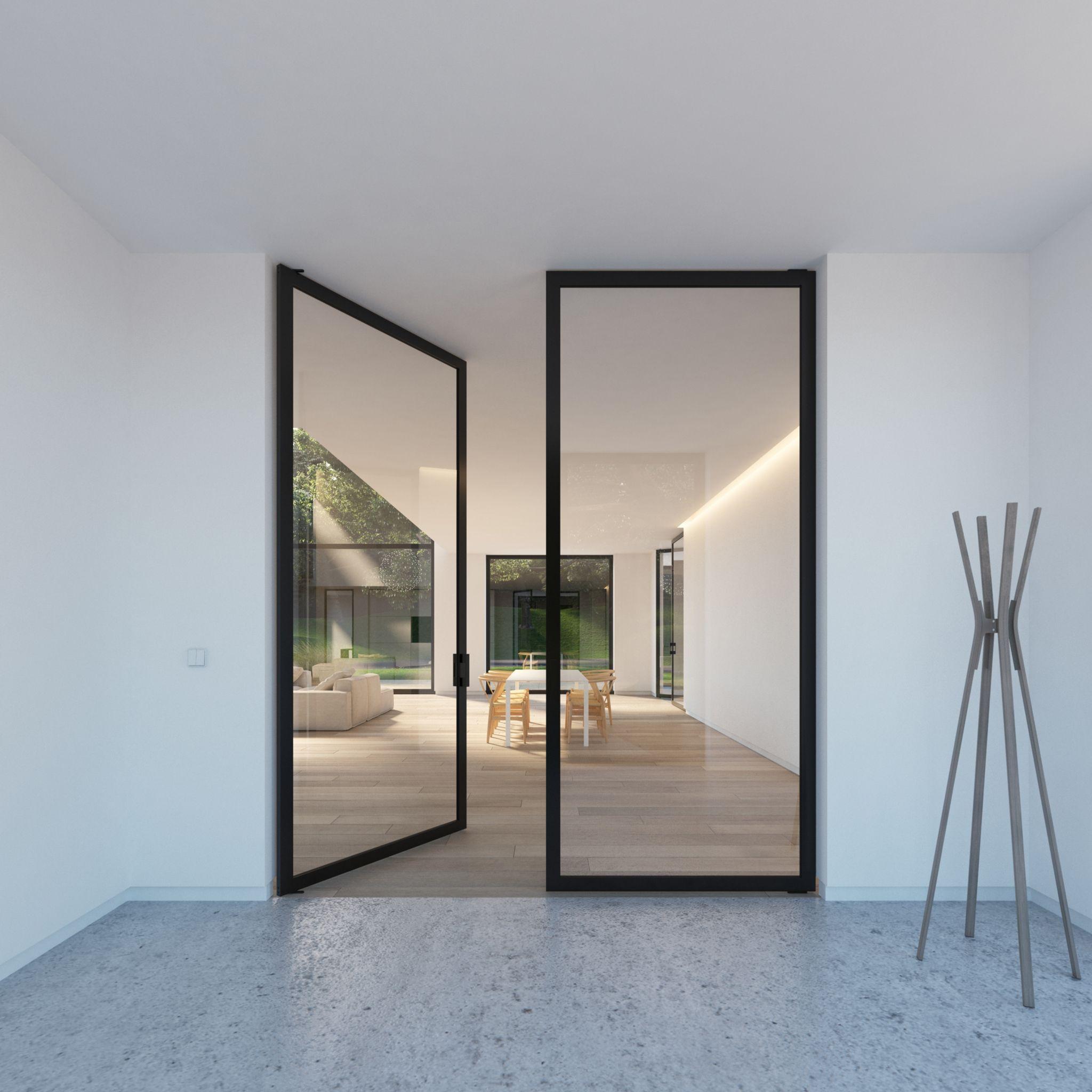 Portapivot Double Glass Door Steel Look With Built In Pivot Hinges
