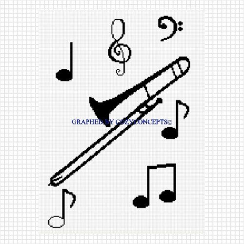Trombone with musical notes blanket crochet afghan pattern
