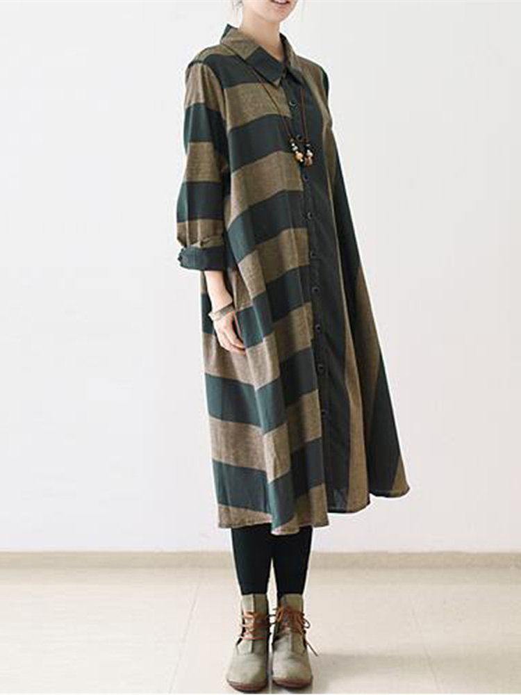 920bd73d00 trends ONLY FOR YOU 147078 - NEWCHIC Mobile. Vintage Women Stripe Long  Sleeve Casual Loose Shirt Dresses ...