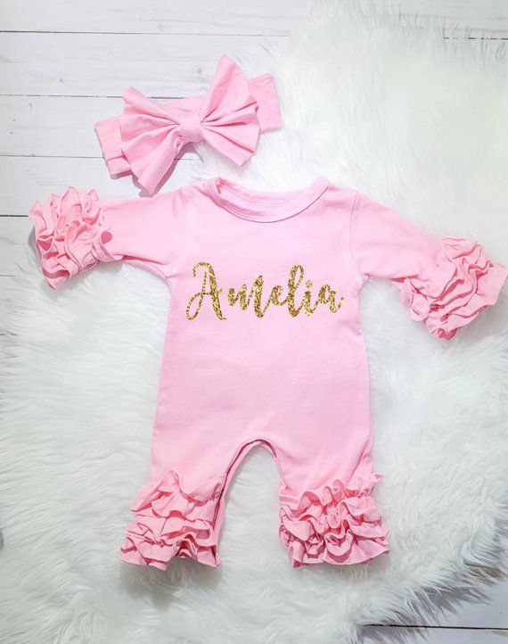 ddc05f3fbab How adorable is this Personalized Newborn Ruffle Romper!! Perfect for a baby  shower gift