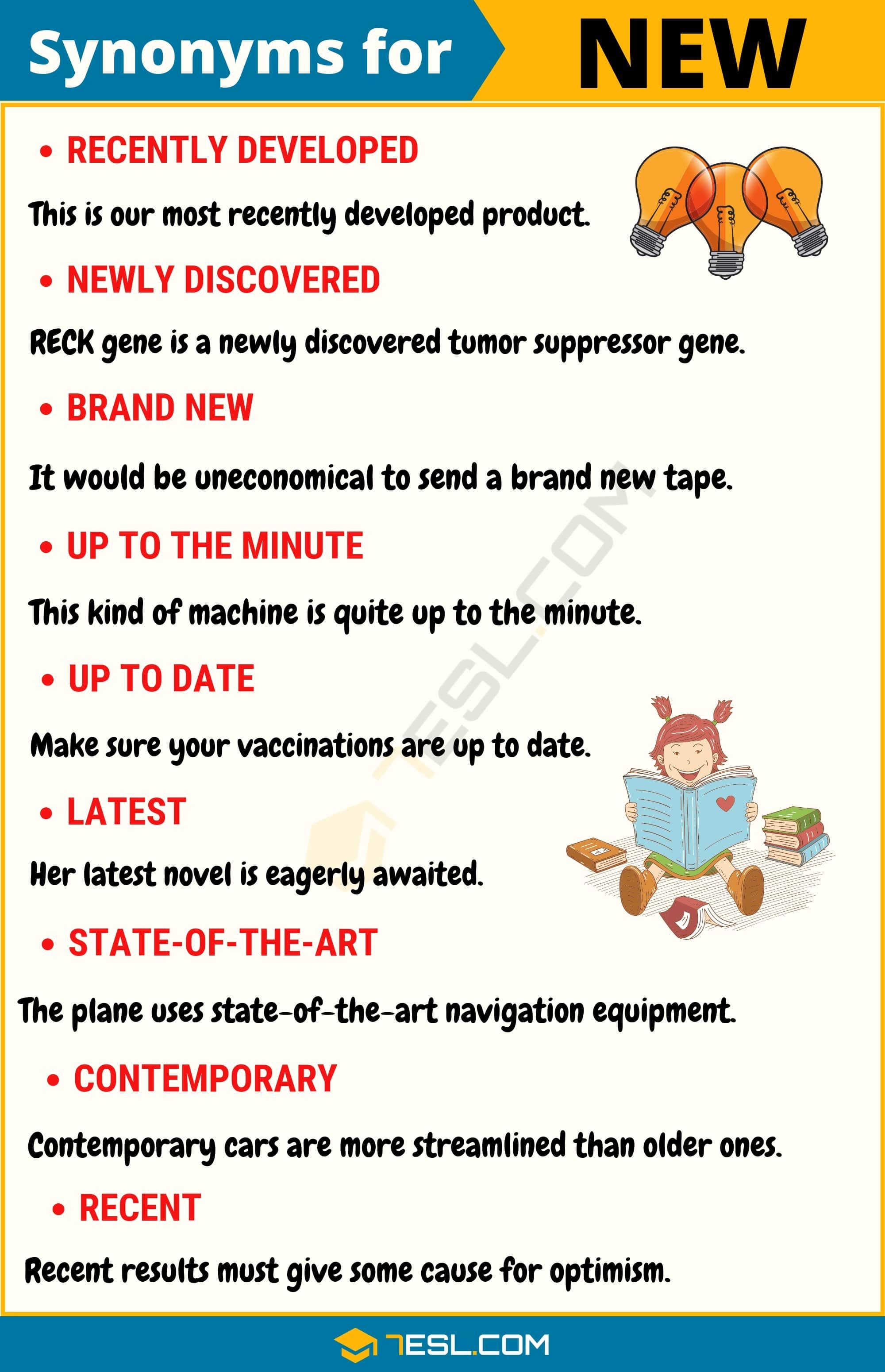 Another Word For New 100 Synonyms For New With Useful Examples 7esl Interesting English Words English Phrases English Words