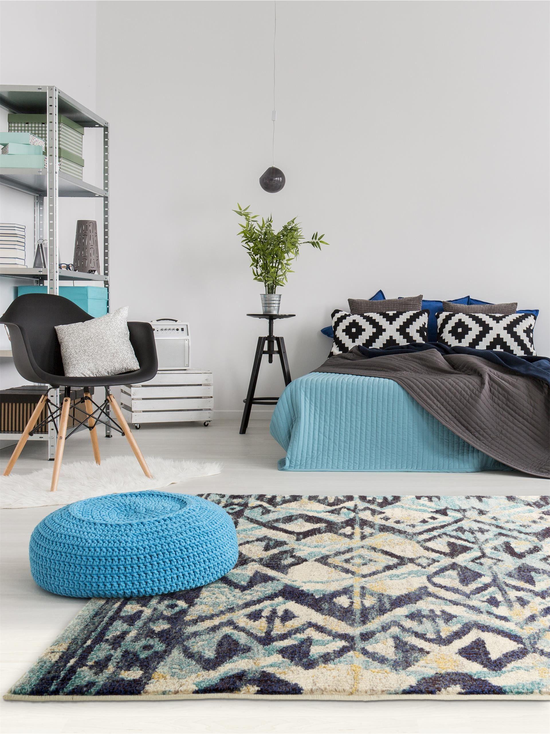 Ethno style trifft auf moderne einrichtung benuta teppich casa blau