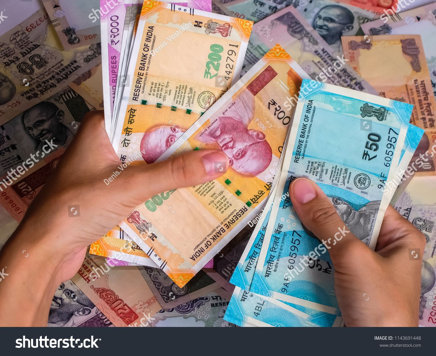 Woman S Hands Holding Indian Notes 10 20 50 100 200 500 And