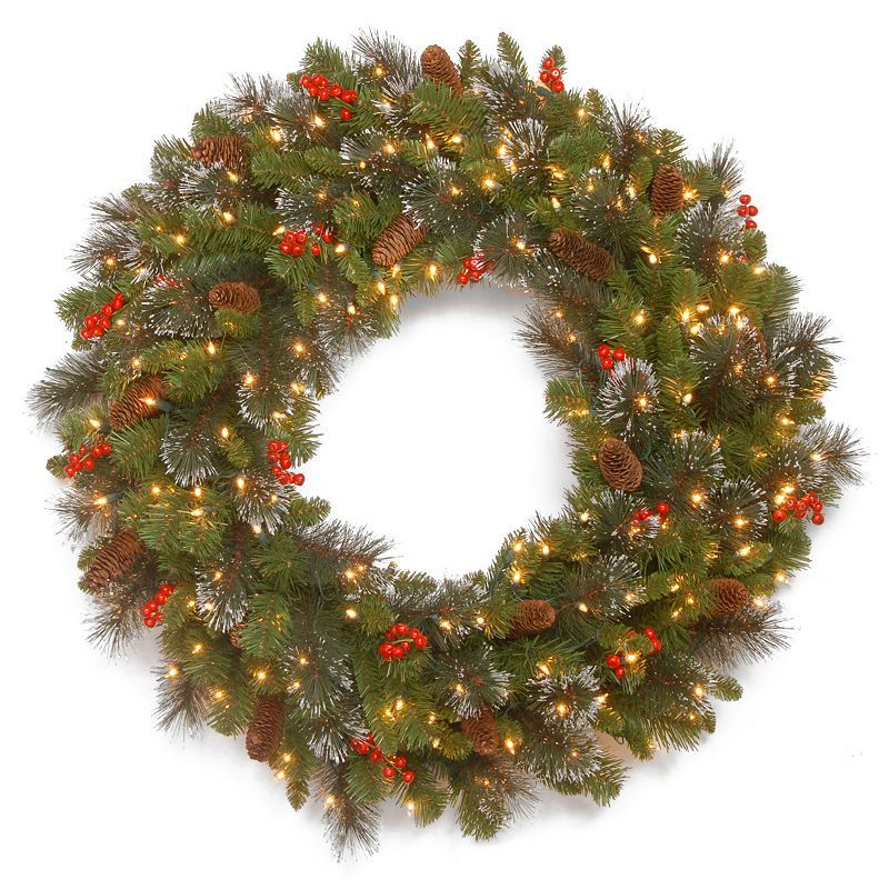 30 In Led Artificial Bristle Pinecone Berry Crestwood Spruce Wreath Christmas Wreaths With Lights Pre Lit Wreath Christmas Wreaths