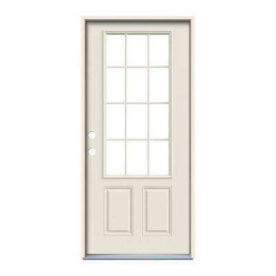 36 In X 80 In 12 Lite Primed Steel Prehung Right Hand Inswing Front Door Steel Doors Exterior Steel Doors Primed Doors