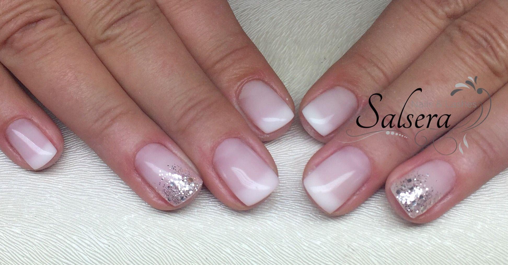nails n gel nageldesign french ros milky silber glitzer shortnails salsera nails lashes. Black Bedroom Furniture Sets. Home Design Ideas