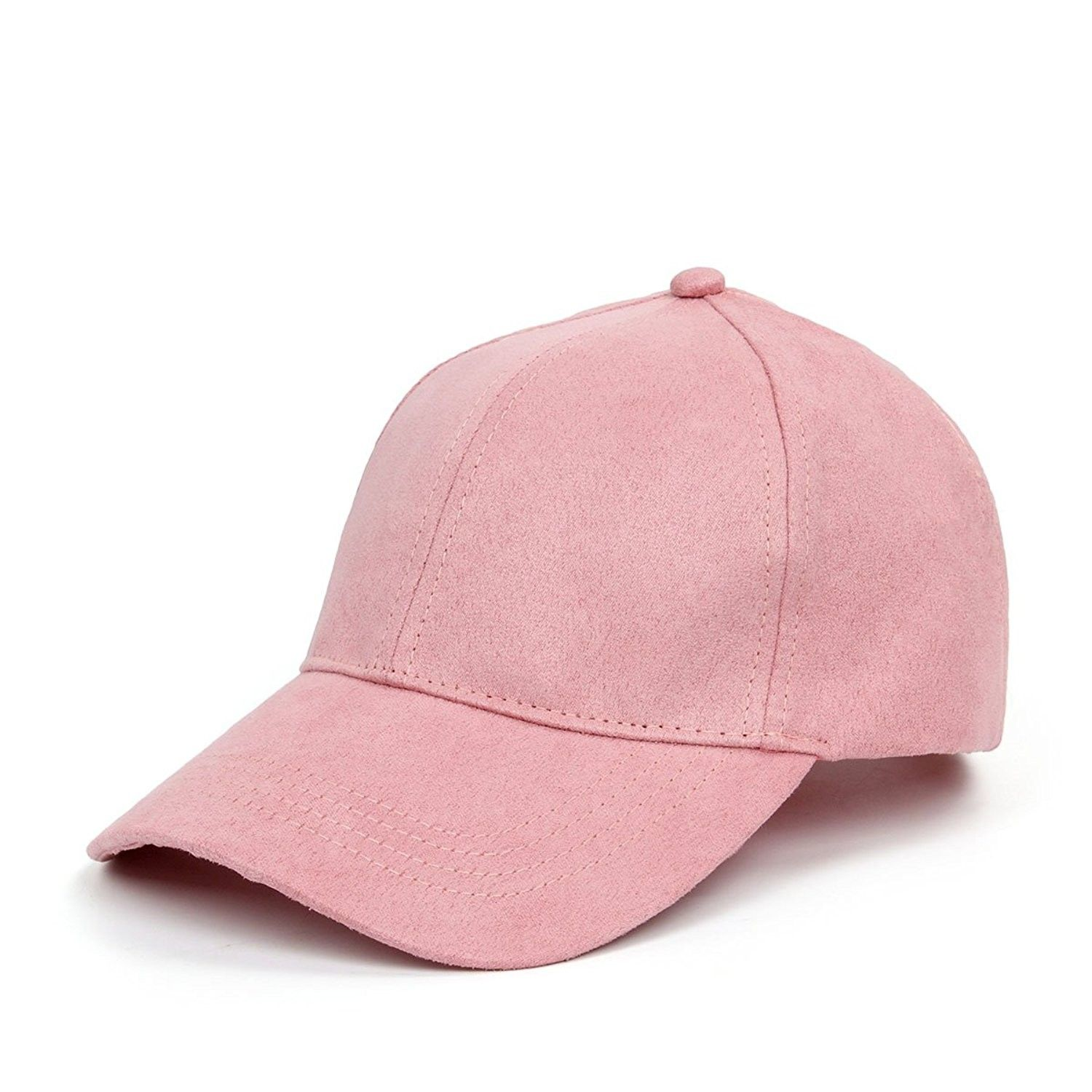b2f7409af50 Soft Faux Suede Leather Baseball Cap Adjustable Classic Sports Hat - Dark  Pink - C51824ZMWT8-