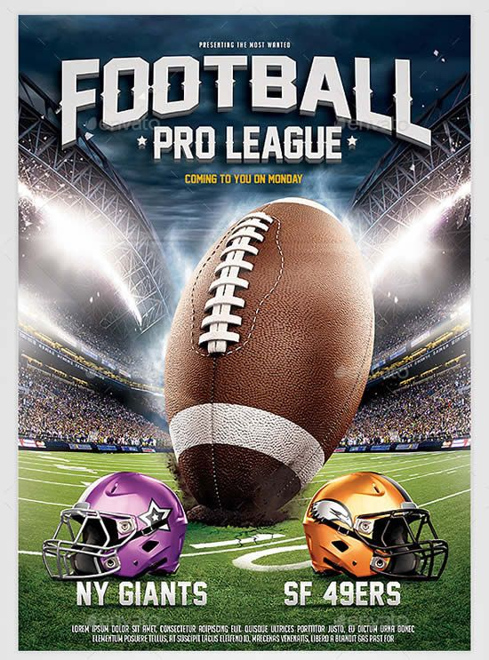 American Football League Flyer Template Football season