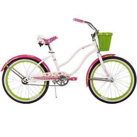 Huffy 20 Cranbrook Girls Cruiser Bike With Basket White Walmart Com Wicker Bikes Girls White Wicker Baskets