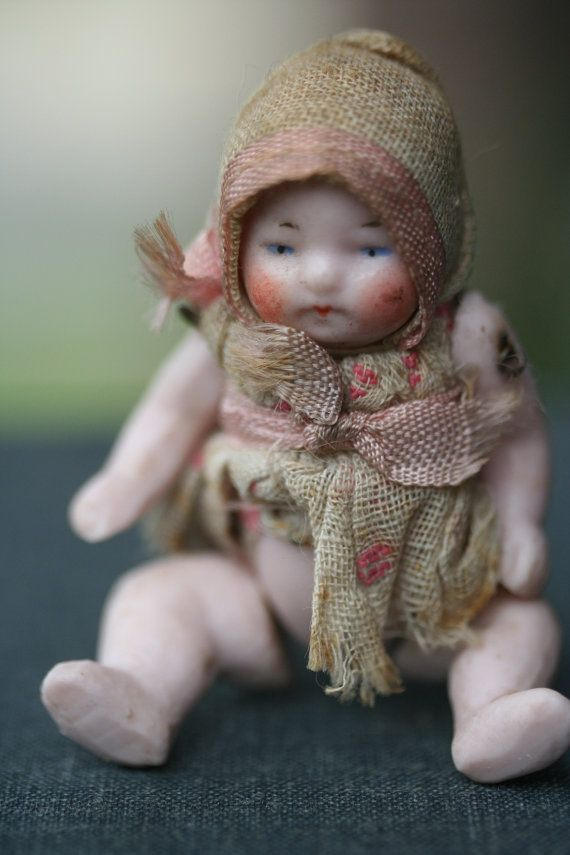 Miniature Antique German All Bisque Dollhouse Baby by KIMBEARLYS