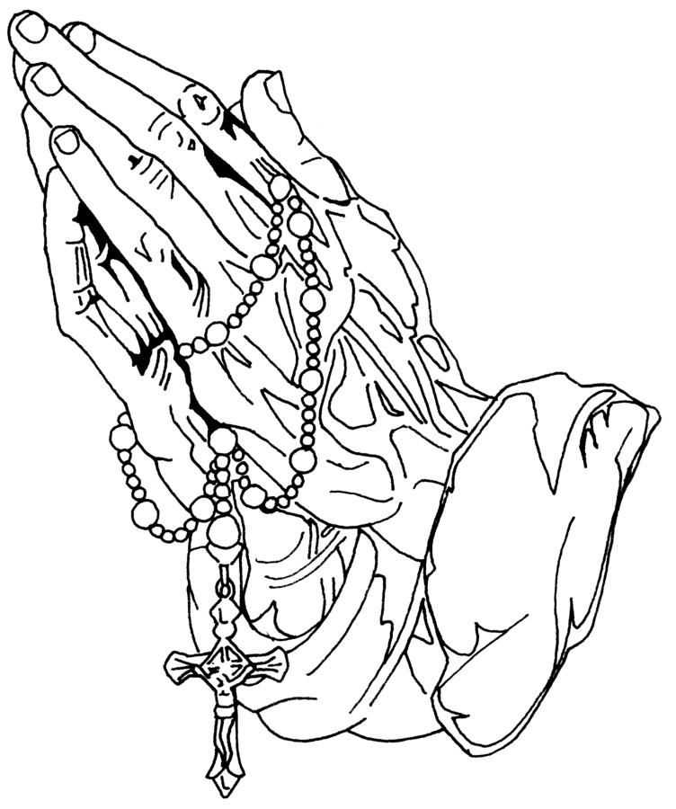 hands praying to god with rosary and cross of jesus christ crucifixion coloring page