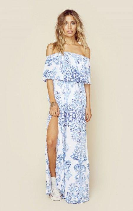 Blue And White Boho Dress