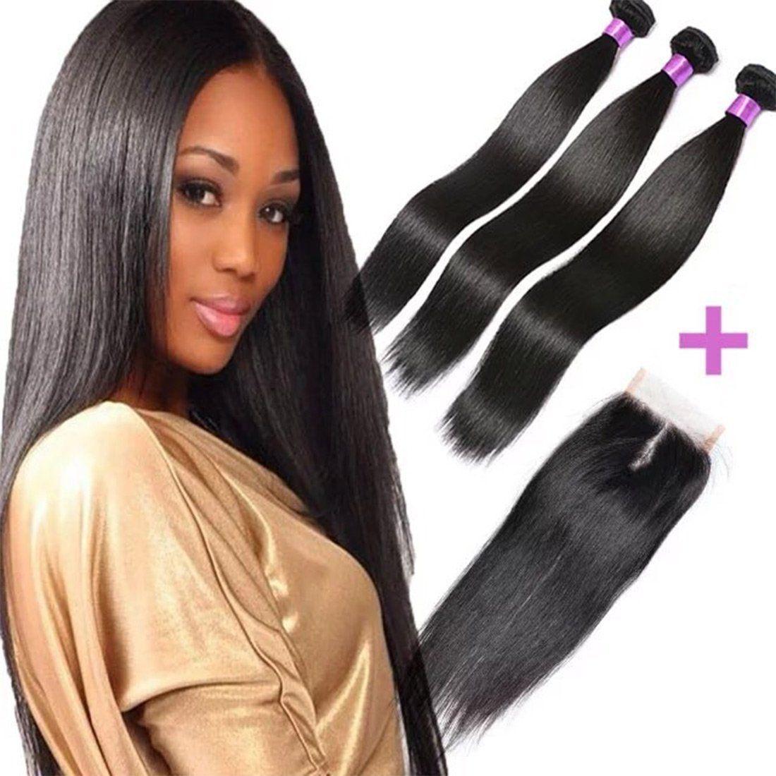 Fashion Queen Hair Straight Weave 7a Brazilian Virgin Hair 3 Bundles With Lace Closure Free Part Mixed Size Length P Queen Hair Hair Extensions Best Human Hair