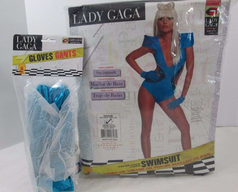 Lady Gaga Adult Standard One Size Swimsuit gloves Halloween Costume 2 psc set