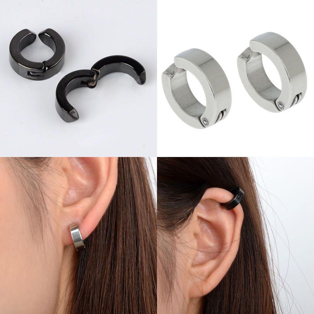 Details About Men's Stainless Steel Ear Stud Cuff Hoop Huggies Nonpiercing  Clipon Earring