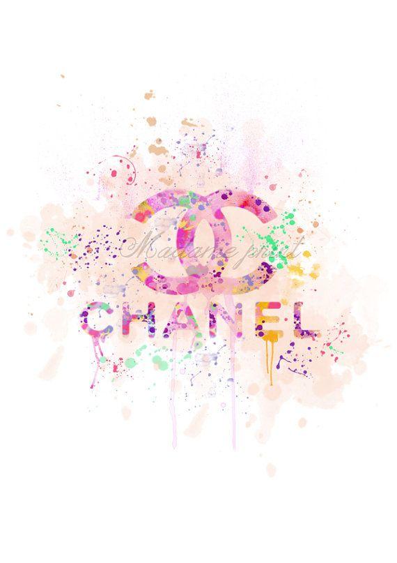 Downloadable Digital Print Watercolor Chanel Logo By Madameprint Chanel Wallpapers Coco Chanel Wallpaper Art