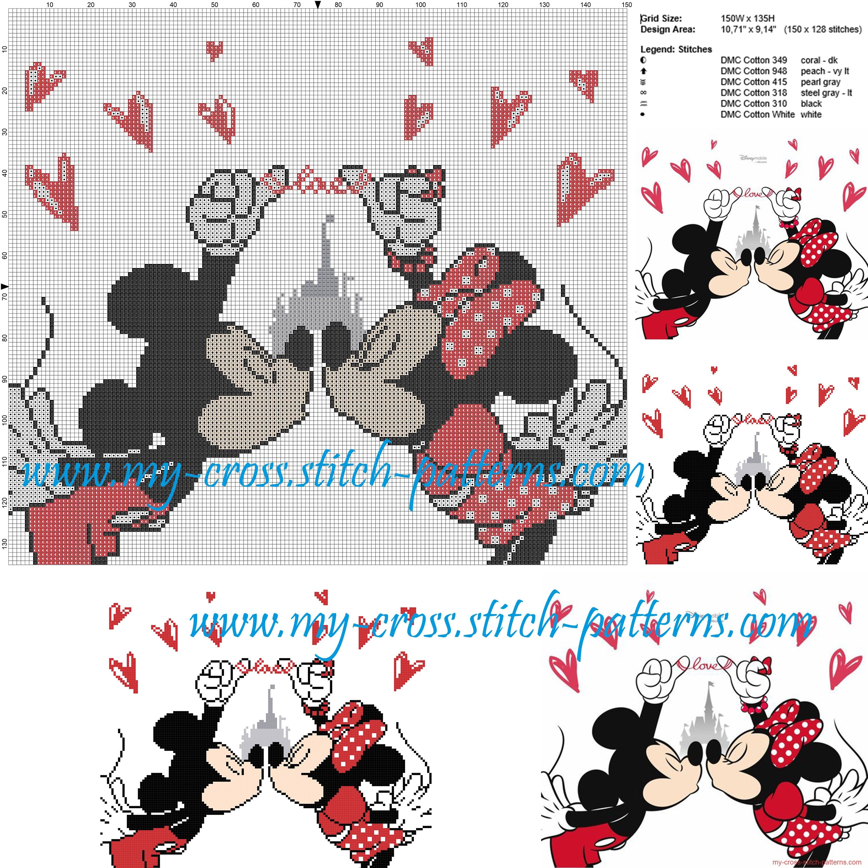 Minnie and Mickey Mouse cross stitch pattern | Cross stitching ...