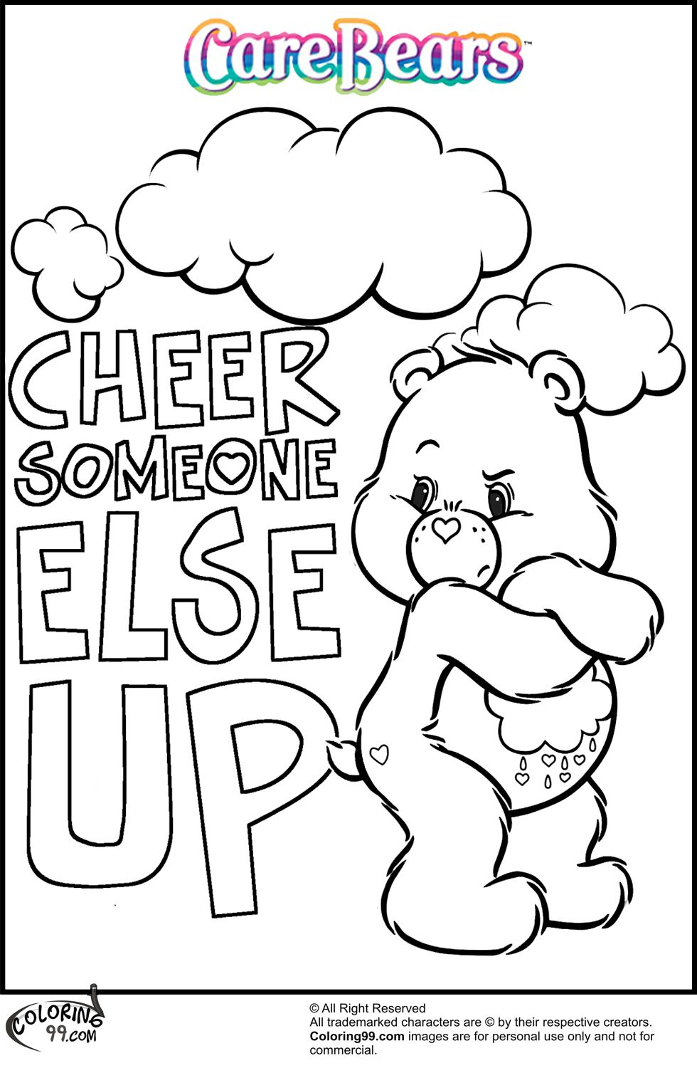 care bear coloring pages team colors 2nd birthday pinterest