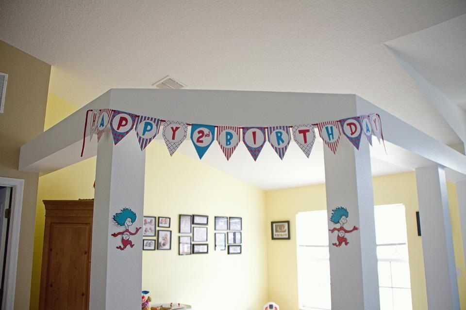 Dr Seuss Thing 1 Thing 2 Birthday Party 2nd Birthday Parties 2nd Birthday Birthday Parties