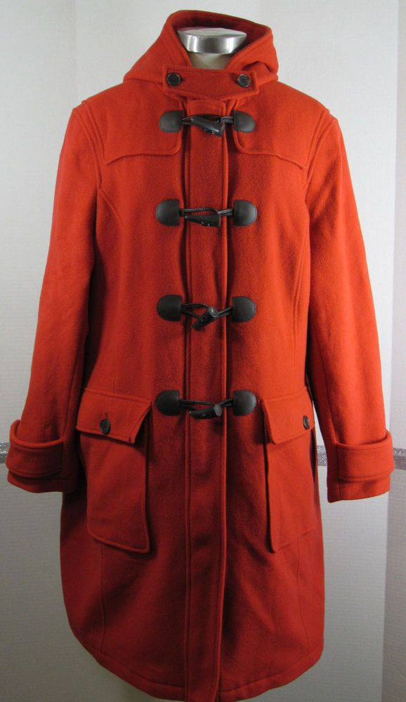 74628a40db0 Lands End Duffle Coat 22W Red-orange Wool Cashmere Horn Toggle Buttons GRUC   LandsEnd  DuffleCoat  Outdoor