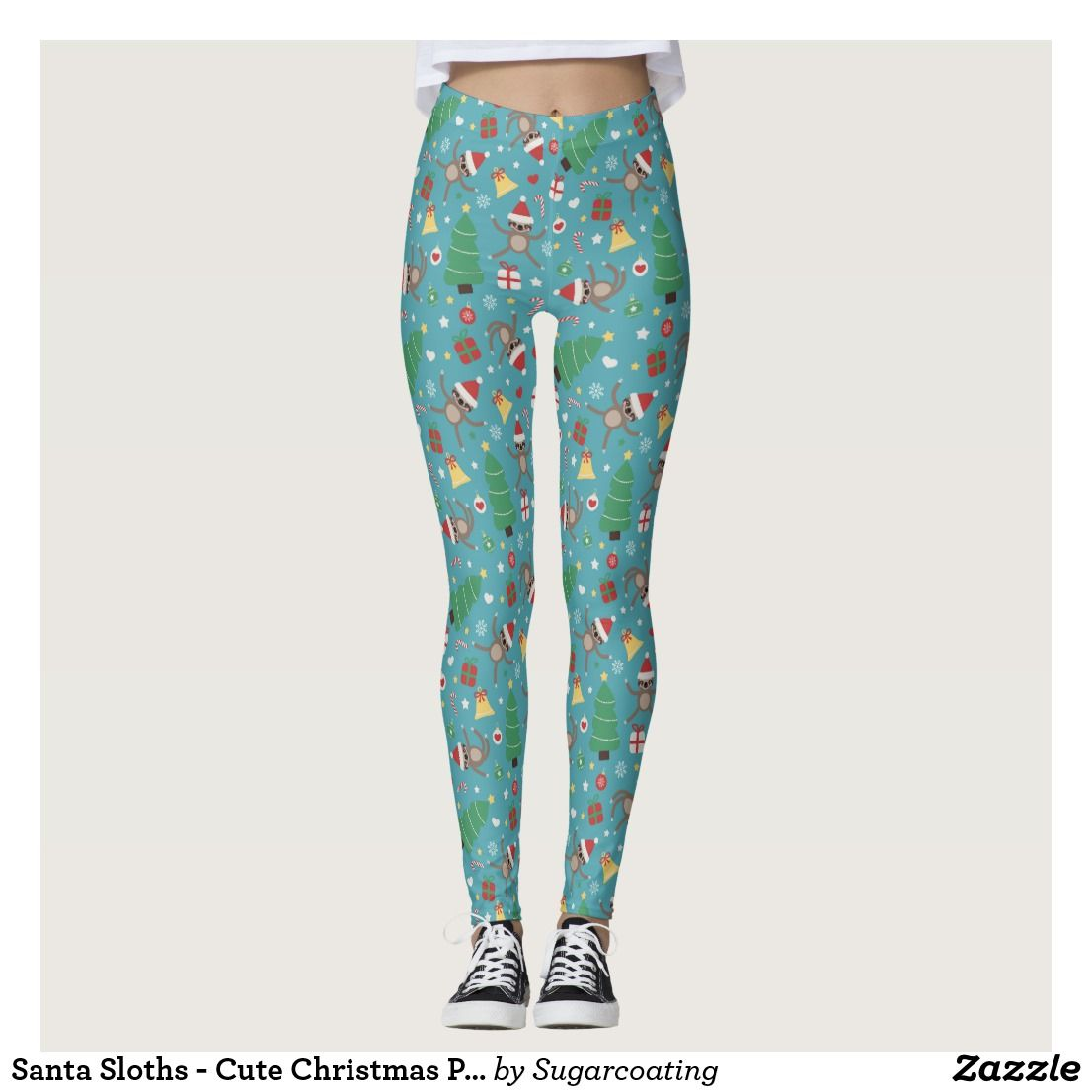 51fea943660eaa Santa Sloths - Cute Christmas Pattern Leggings | Zazzle.com ...