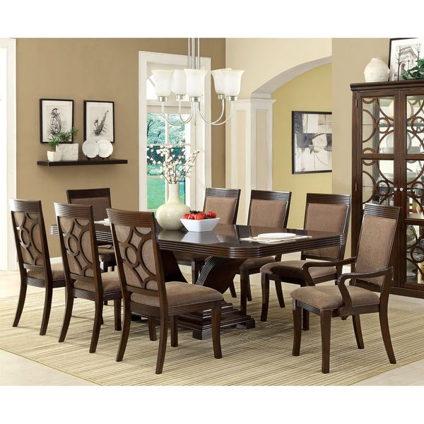 Furniture Of America Woodburly 9 Piece Dining Set With Leaf (Walnut), Brown