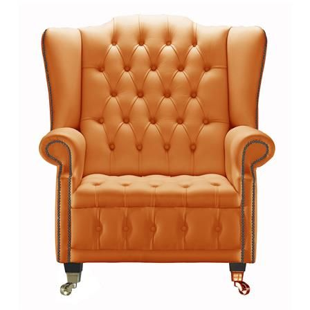 Venetia Chesterfield Leather Queen Anne Armchair In Orange