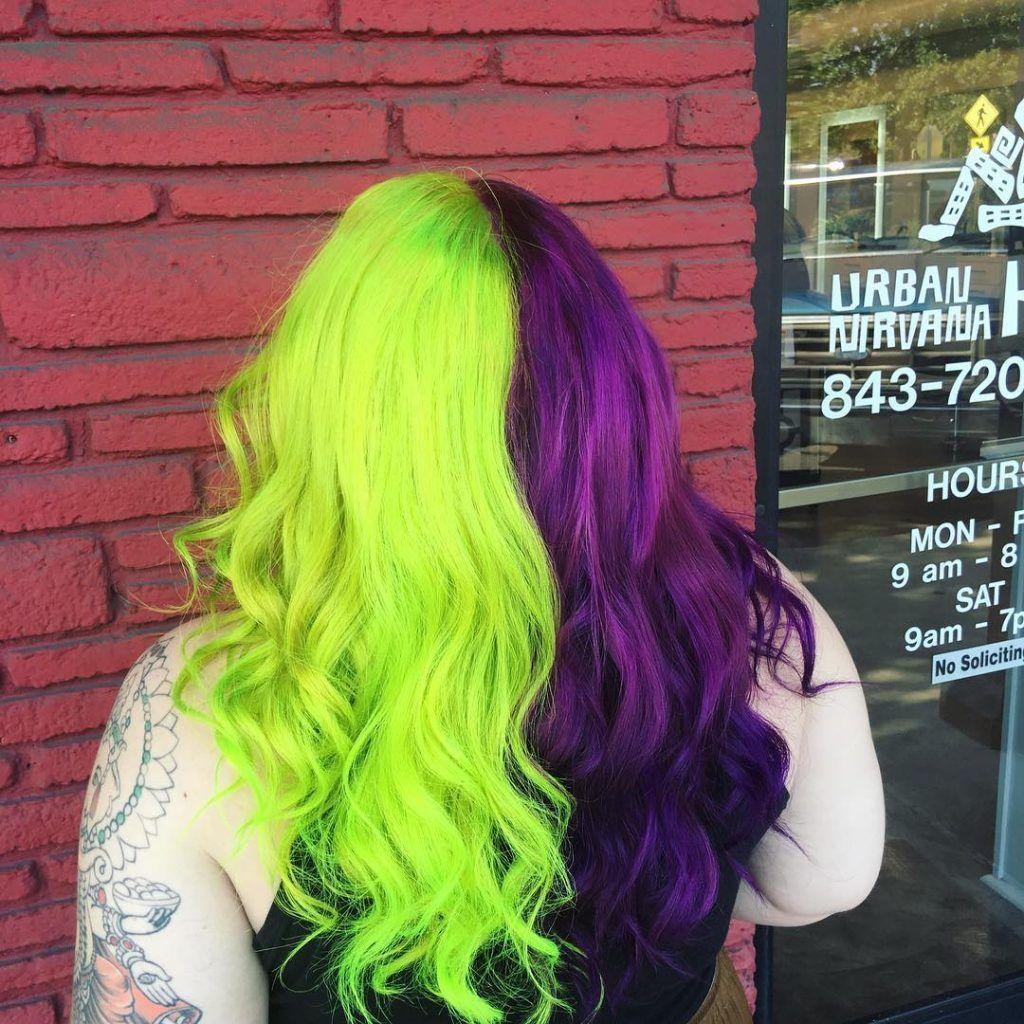 Half En Half Groen En Paars Green Hair Ombre Hair Styles Hair Inspo Color