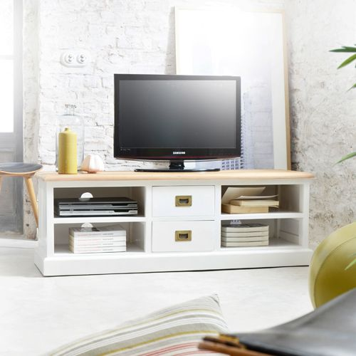 Meuble Tv Blanc Et Chêne 130 Cottage Meuble Télé Pinterest