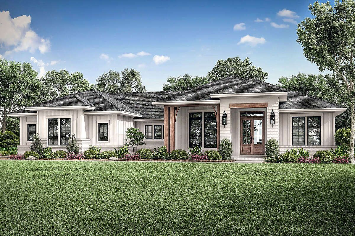 House Plan 041 00212 Modern Farmhouse Plan 2 330 Square Feet 3 Bedrooms 2 5 Bathrooms Ranch Style House Plans Ranch House Plan House Plans Farmhouse
