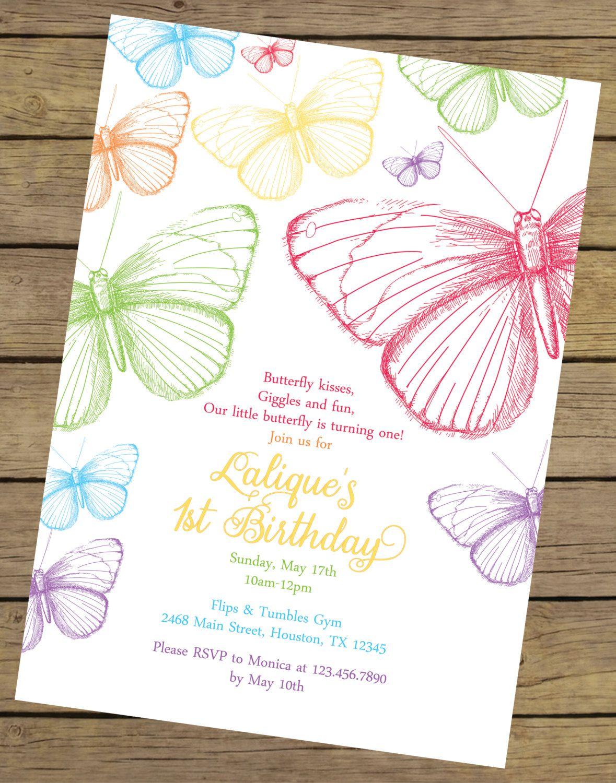 Rainbow Butterfly Birthday Invitation   Butterfly Birthday Invite ...