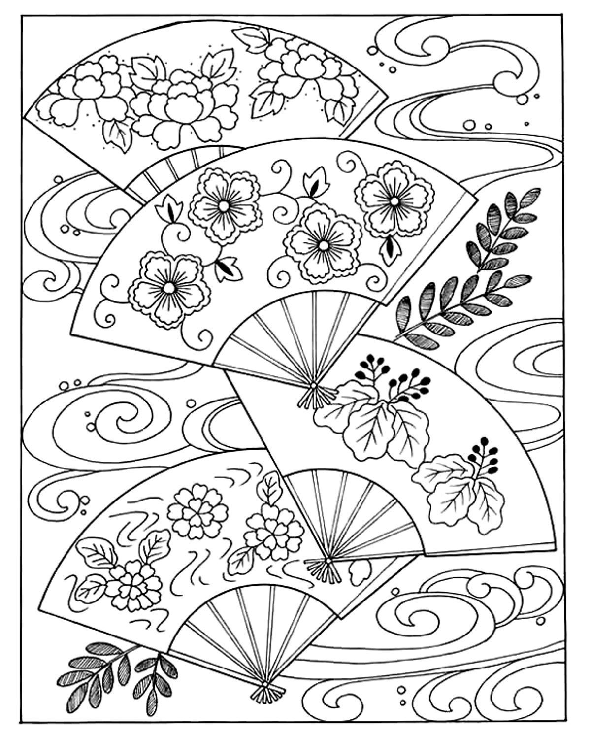 Free coloring page coloring japanese hand fan coloring japanese