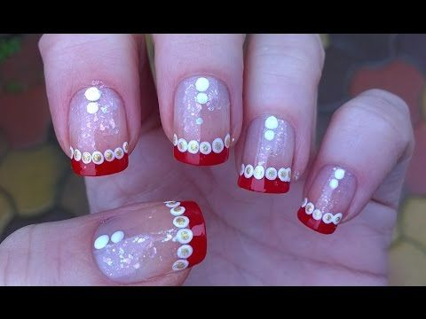 Candy Cane Christmas French Manicure Nail Art Idea Youtube Nails