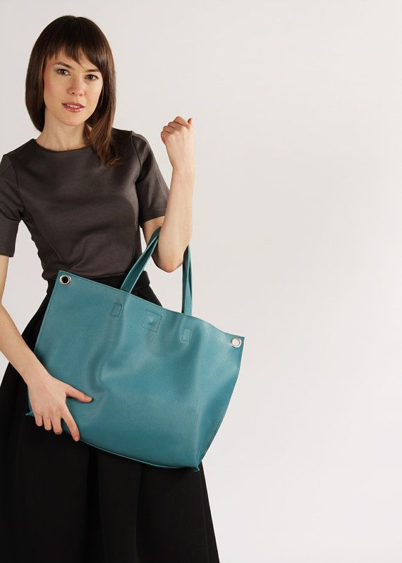 "Large Tote Bag ""Michelle Aquamarine"", Genuine Leather Crossbody Tote, Oversized Shopping Bag, Teal Leather Tote Bag"