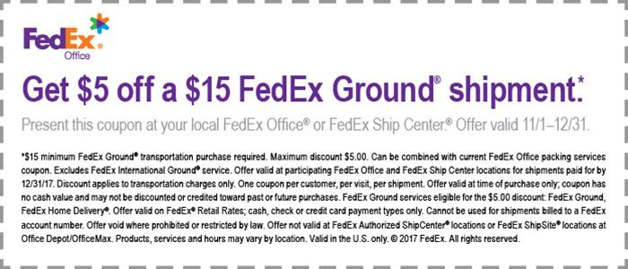 FEDEX GROUND SHIPPING COUPON