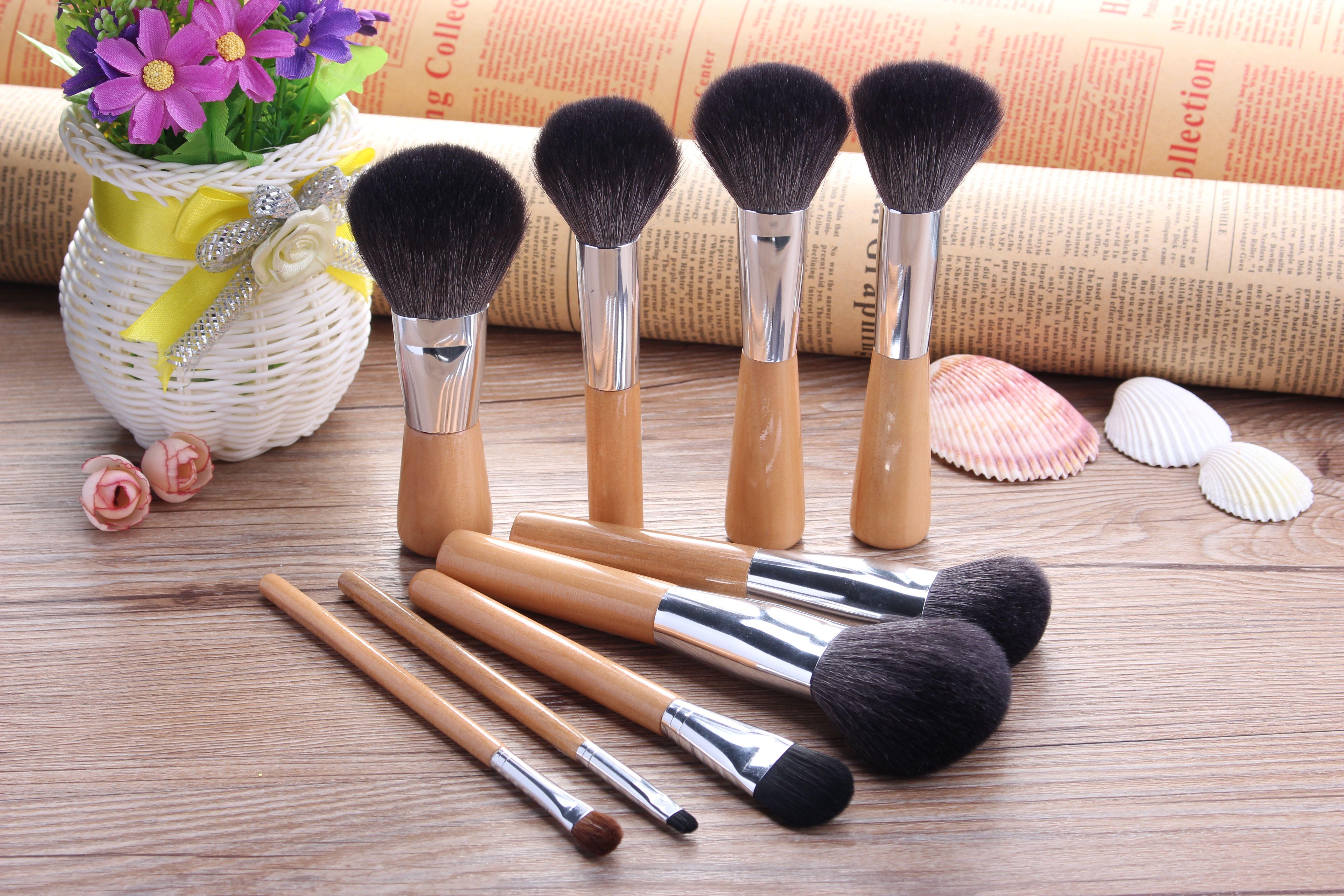 wood green goat hair makeup brushes! h… Makeup brush set