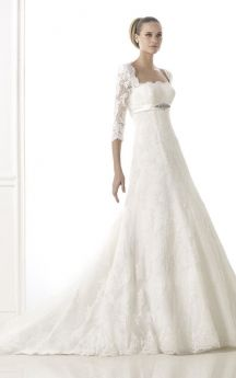 69a9acbb4d1 Romantic 3 4 Sleeve Lace-appliqued Wedding Dress With Empire Waist ...