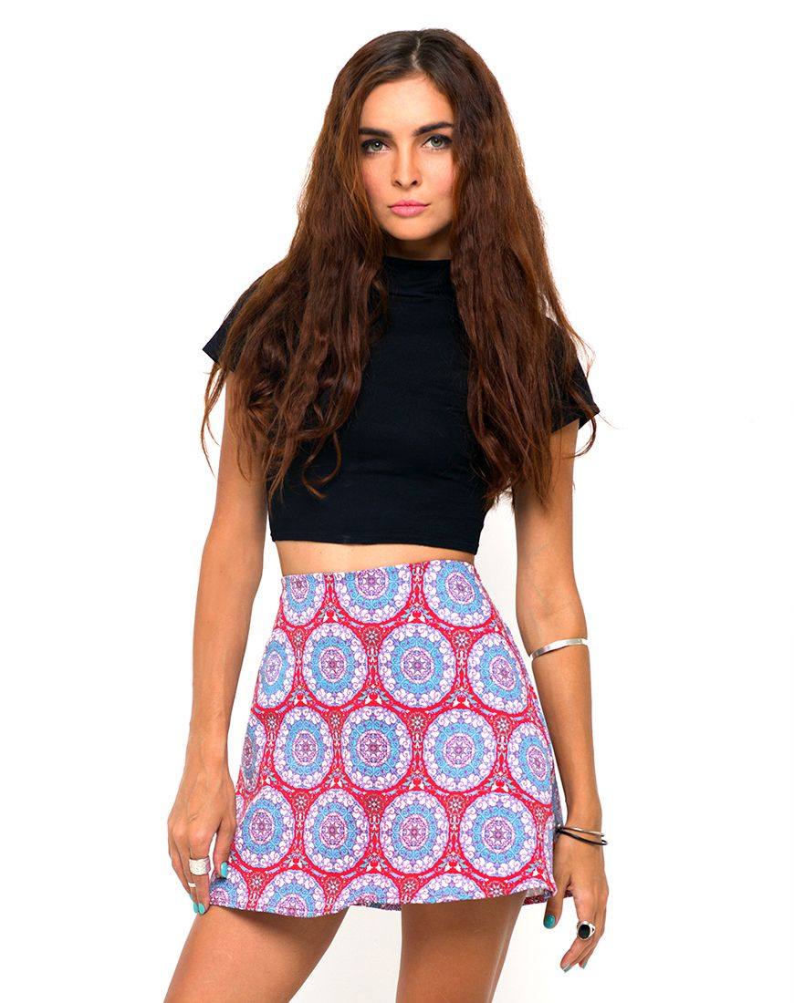 Motel Annie A Line Mini Skirt in Mandala Red, TopShop, ASOS, House ...