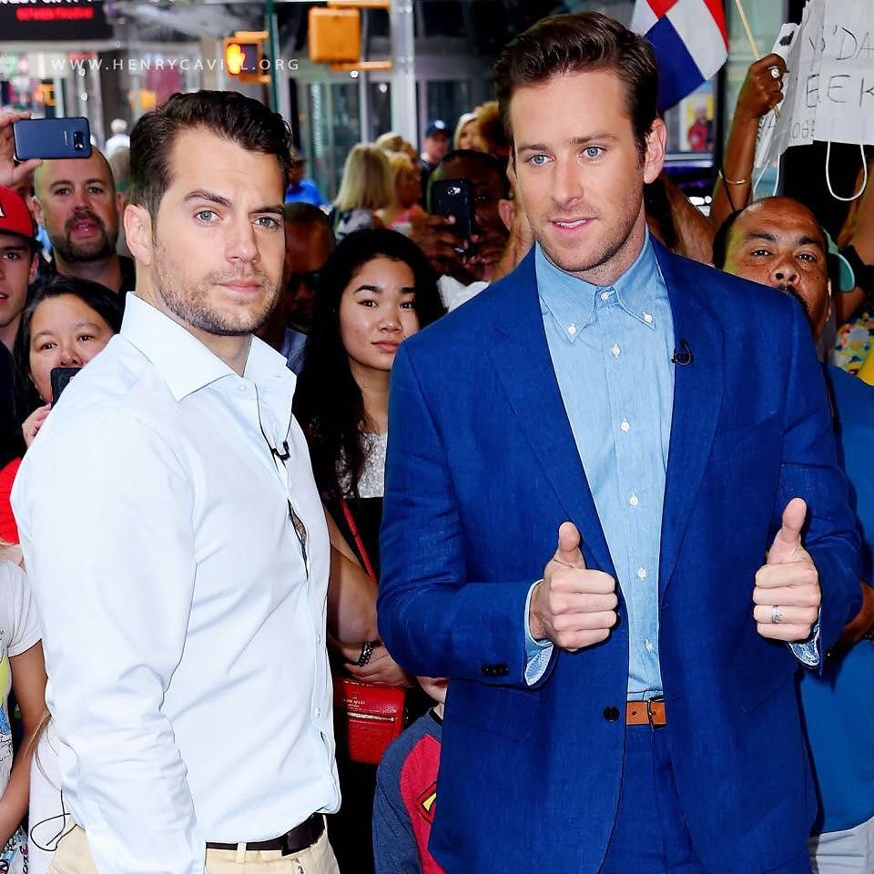 "Henry Cavill and Armie Hammer on Good Morning America in NYC promoting their movie ""The Man From U.N.C.L.E."" Via HCO  _______________________________  #HenryCavill #ArmieHammer #TheManFromUNCLE #GoodMorningAmerica #WBPictures"