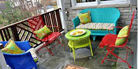 Wicker And Wrought Iron Patio Furniture Makeover Colorful Patio