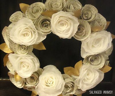 Paper flower wreaths - made with coffee filters and old book pages
