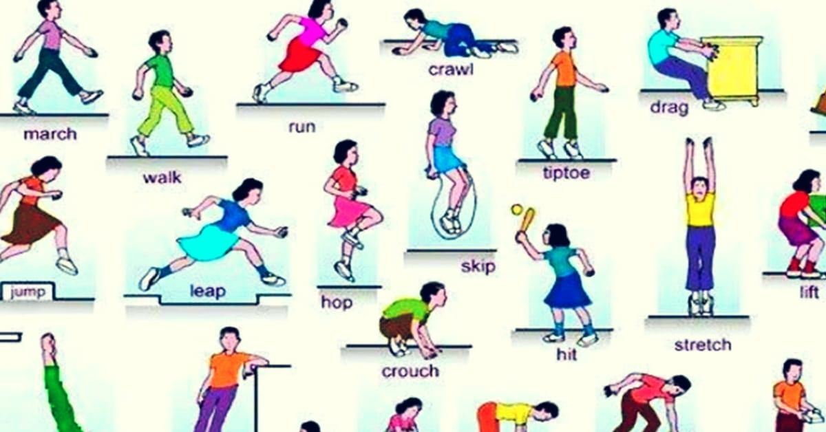 action words list of verbs of body movement with esl