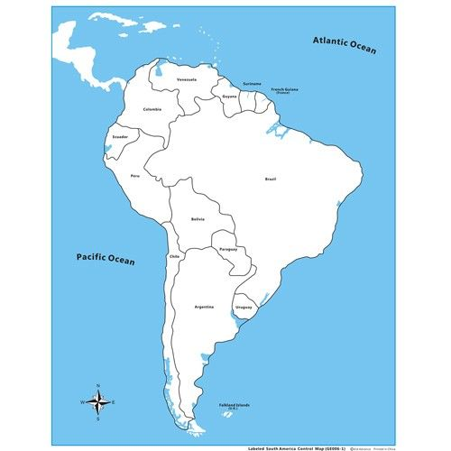 Labeled South America Control Map PP Plastic KidAdvancecom - South america map labeled